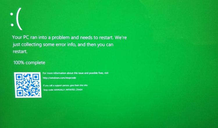 "Windows 10 Insiders: ¡las ""pantallas azules de la muerte"" se vuelven verdes! 1"