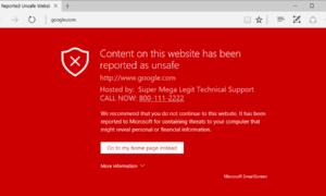 La función de seguridad de Microsoft Edge SmartScreen puede utilizarse para estafas de soporte técnico