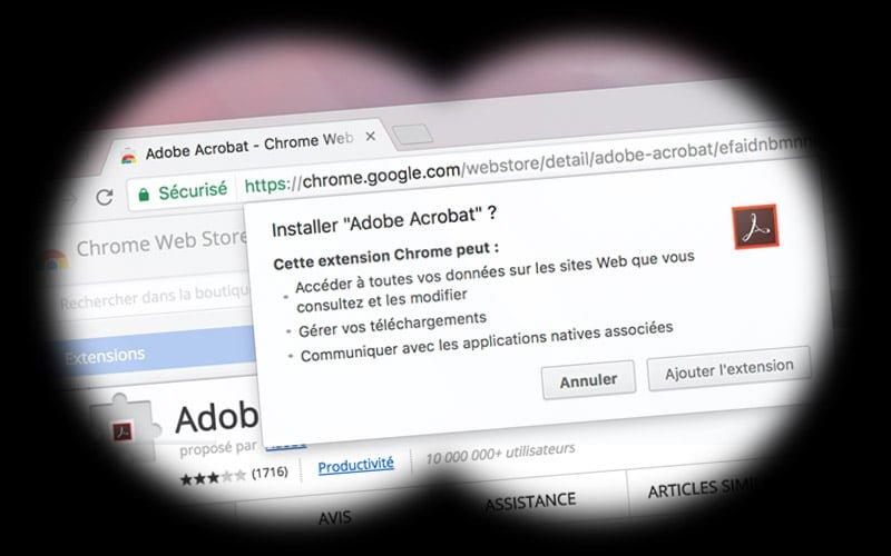 Adobe Acrobat ahora fuerza la adición de una extensión espía Chrome en Windows