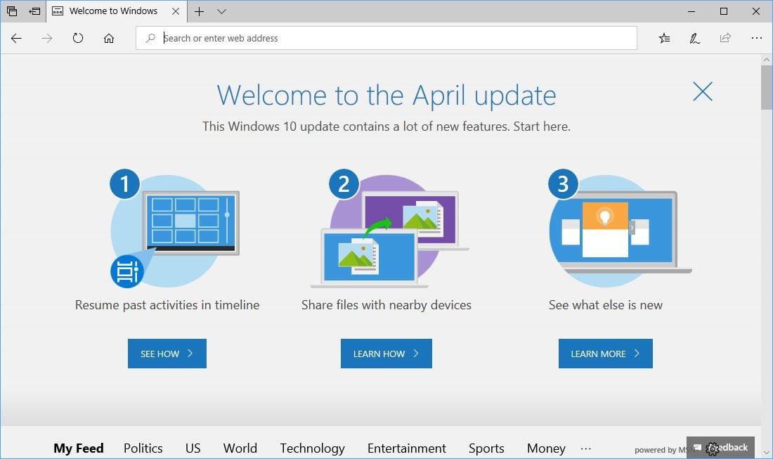 """Edge revela que la """"actualización de abril"""" es el nombre de la próxima actualización de Windows 10"""