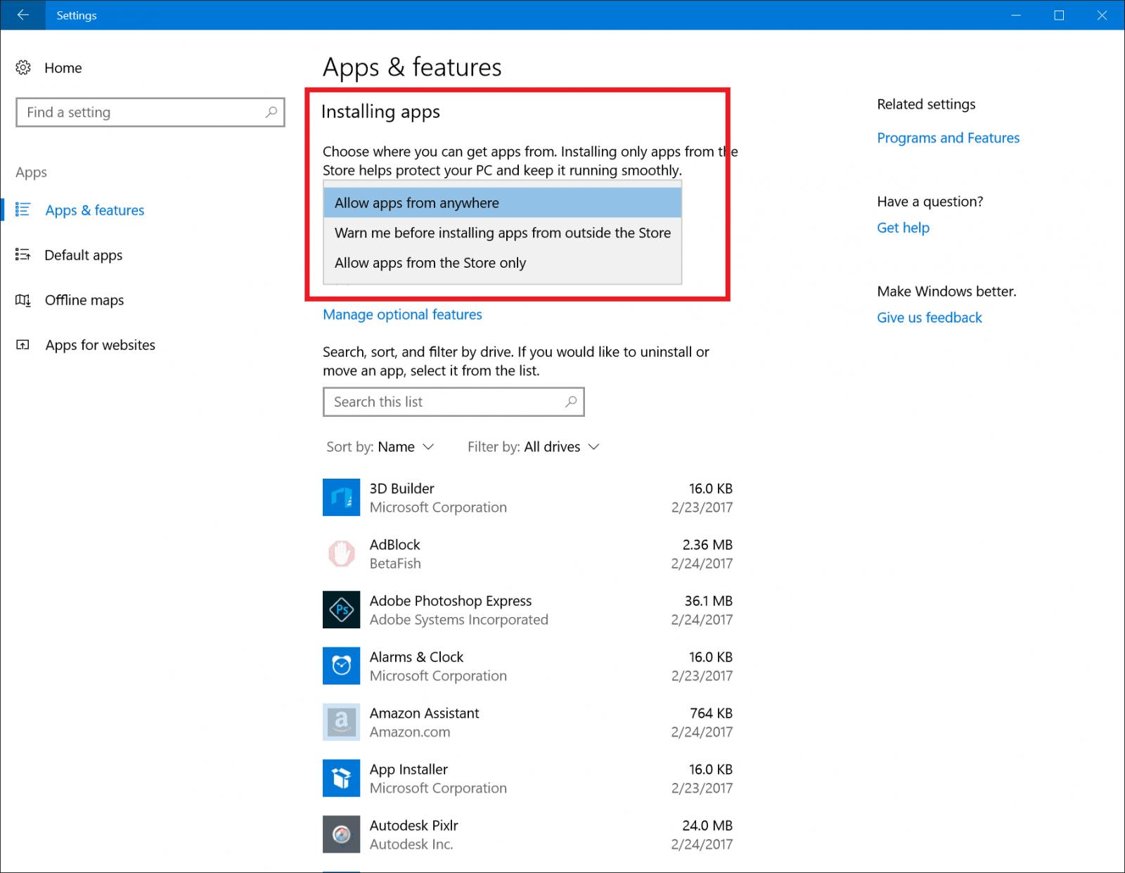 Windows Insider Build 15046 introduce el control de instalación de aplicaciones