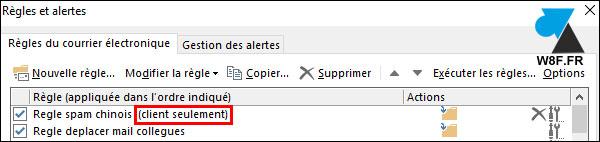 Outlook: diferencia entre la regla del lado del servidor y la del lado del cliente solamente 2