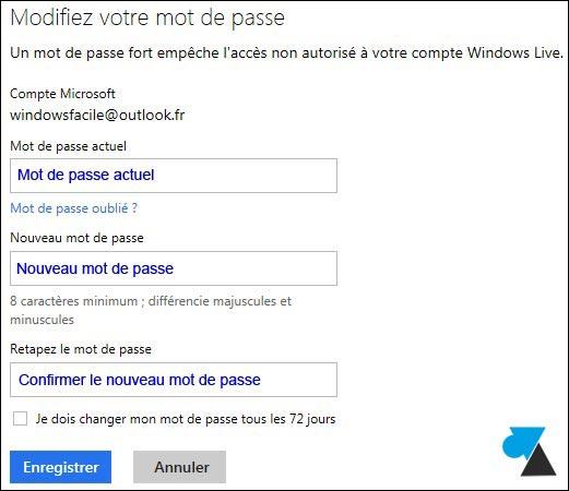 Cambiar la contraseña de una cuenta de correo electrónico de Outlook / Hotmail 4