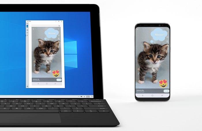 Vista previa de Windows 10 espejos pantalla Android móvil en el ordenador