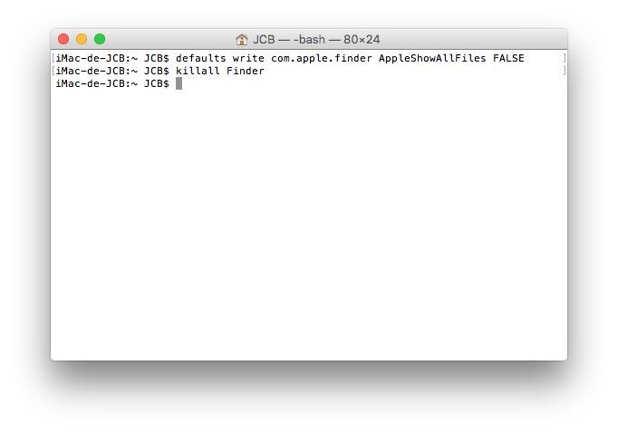 Mostrar archivos ocultos Mac OS X El Capitan (10.11) 2