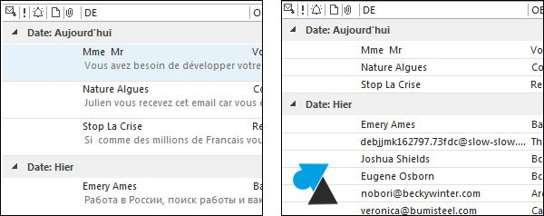 Outlook 2013: Disable email list preview 2