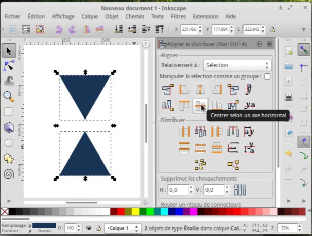 Inkscape alinea perfectamente dos objetos 4