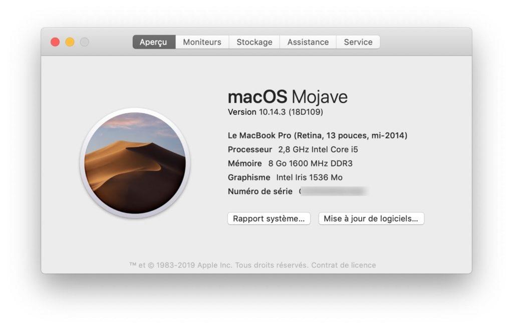 Actualización adicional de macOS 10.14.3 1