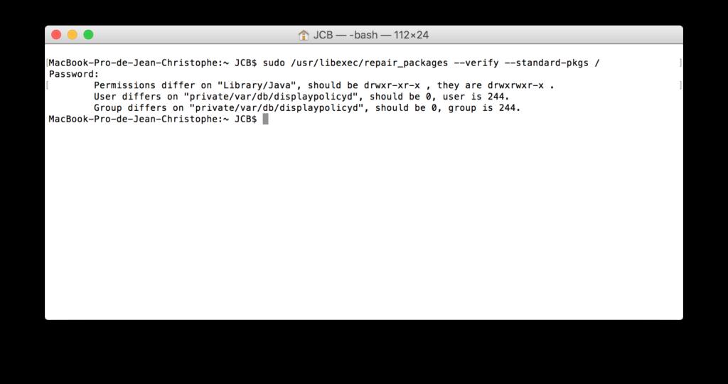 Reparar los permisos de El Capitan con el Terminal (OS X 10.11) 2