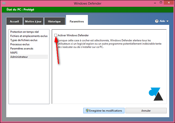 Habilitar y deshabilitar el antivirus integrado en Windows 8 3