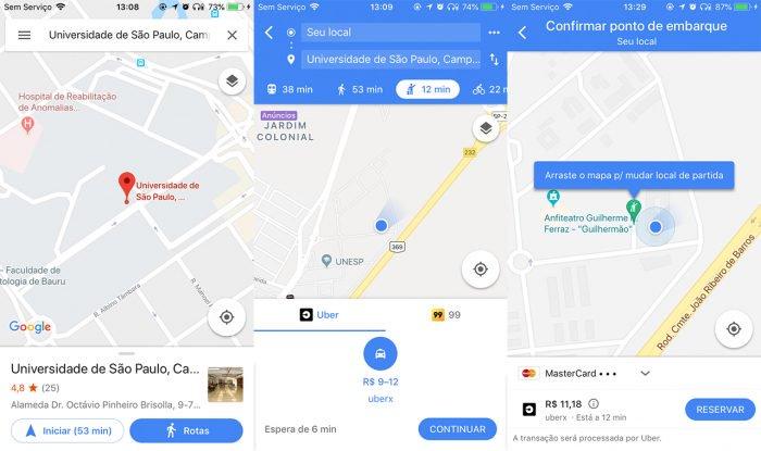 Cómo pedir un Uber o 99 y simular precios en Google Maps 2