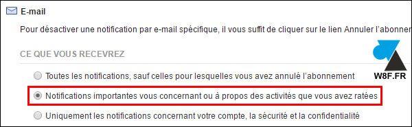 Desactivar las notificaciones de correo electrónico de Facebook 5