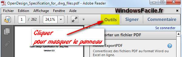 Adobe Reader PDF: desactivar el panel lateral derecho 3