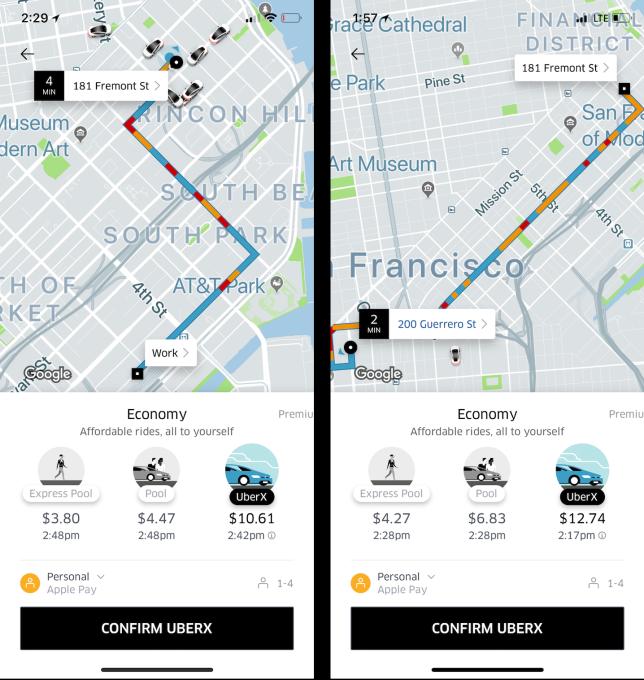 Uber prueba las estimaciones de tránsito basándose en su propia información