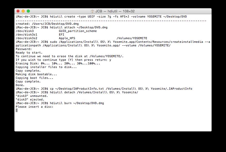 Crear un DVD de arranque de Yosemite (Mac OS X 10.10) 11