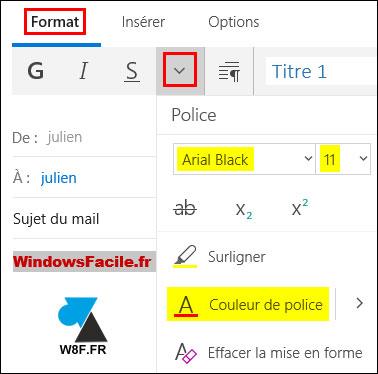 Mail: cambia la fuente, el tamaño y el color de escritura de un correo electrónico. 4