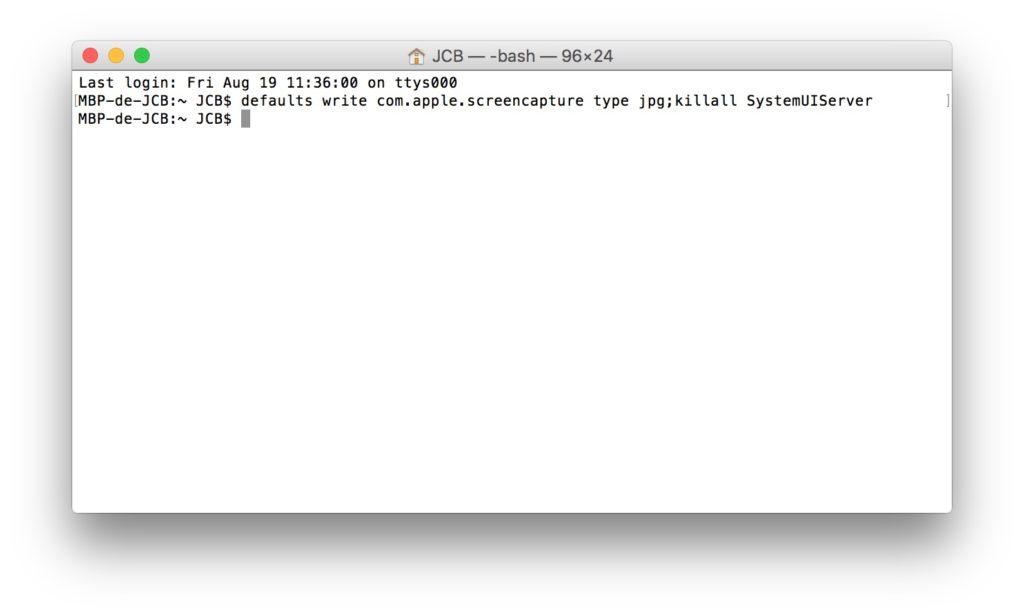 Captura de pantalla en Mac: cambiar el formato de imagen predeterminado (JPG, GIF, PDF, PNG, TIFF) 1