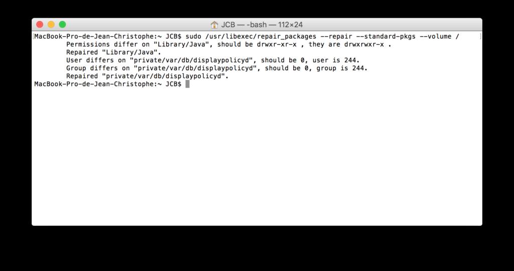 Reparar los permisos de El Capitan con el Terminal (OS X 10.11) 4