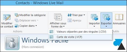 Realizar copias de seguridad de los contactos de Windows Live Mail 3