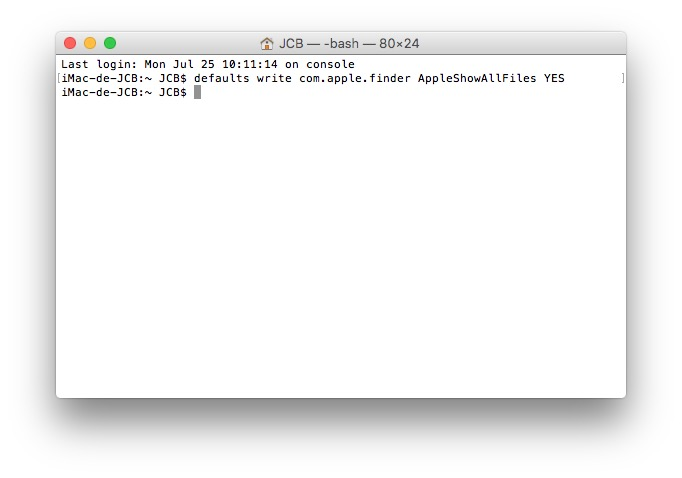 Mostrar archivos ocultos macOS Sierra (10.12) 1