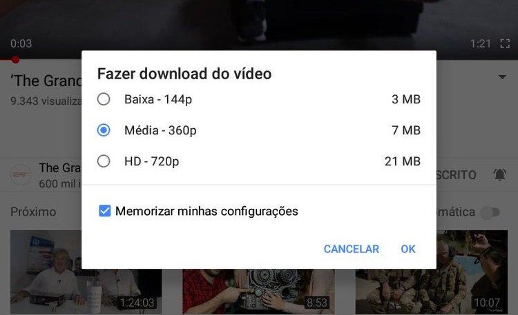 Función de pruebas de YouTube para guardar videos fuera de línea en Brasil 3