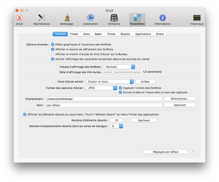 Onyx macOS Sierra (10.12) : instrucciones de uso 10