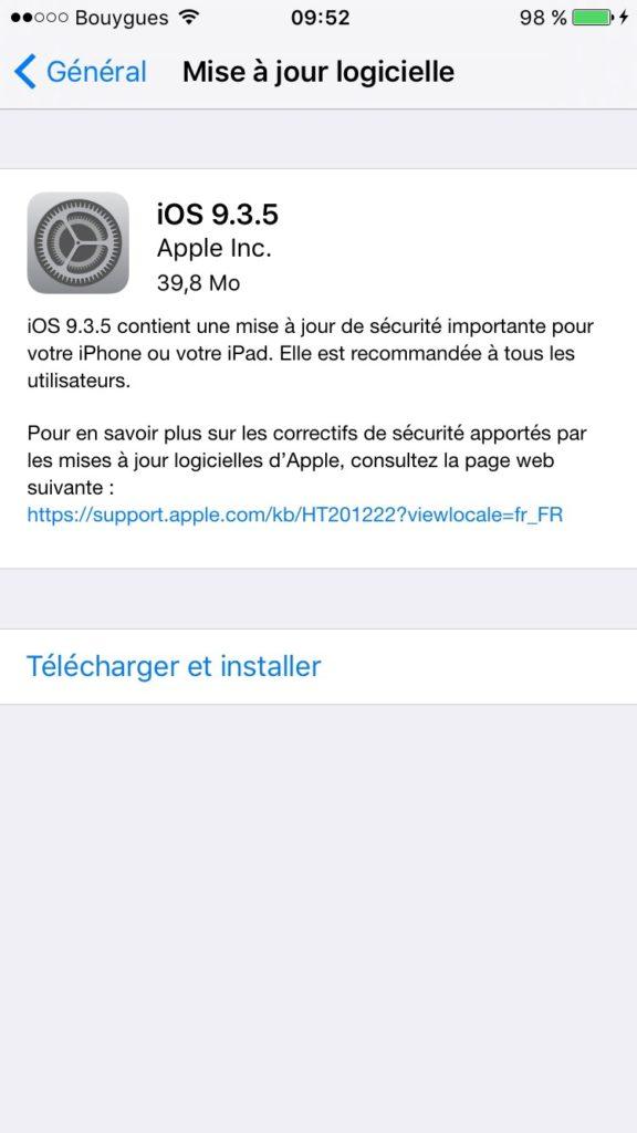 iOS 9.3.5 : actualización para iPhone, iPad, iPod touch 1