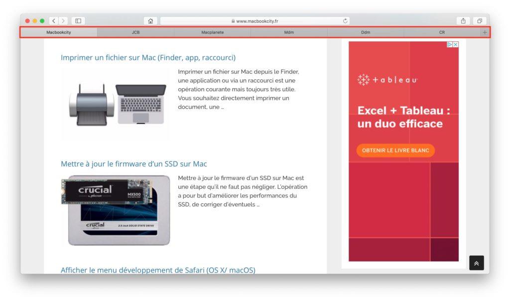 Ver los favoritos del sitio con Safari Mac 1