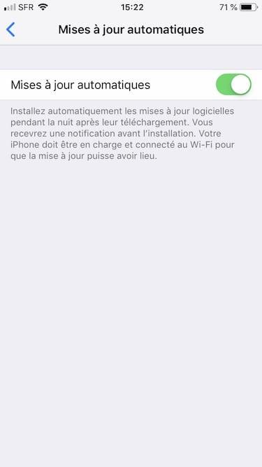 Habilitar las actualizaciones automáticas para iOS