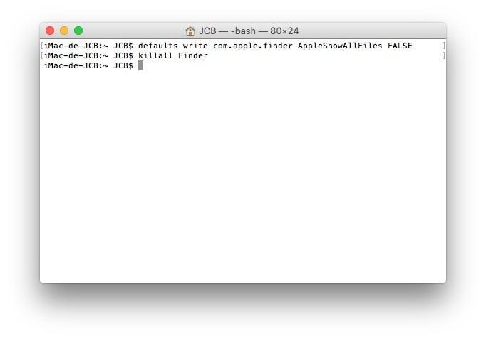 Mostrar archivos ocultos Mac OS X El Capitan (10.11)
