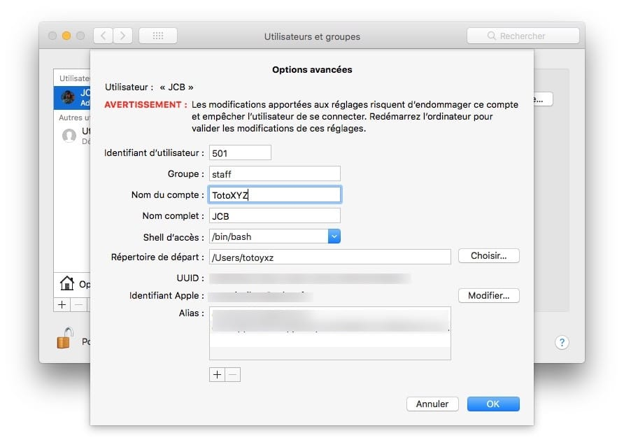 Cambiar el nombre de la cuenta de usuario en Mac