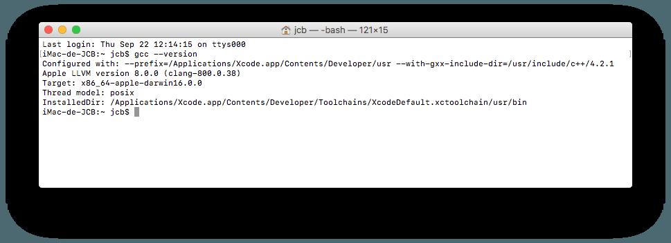 Instalar Xcode macOS Sierra y GCC