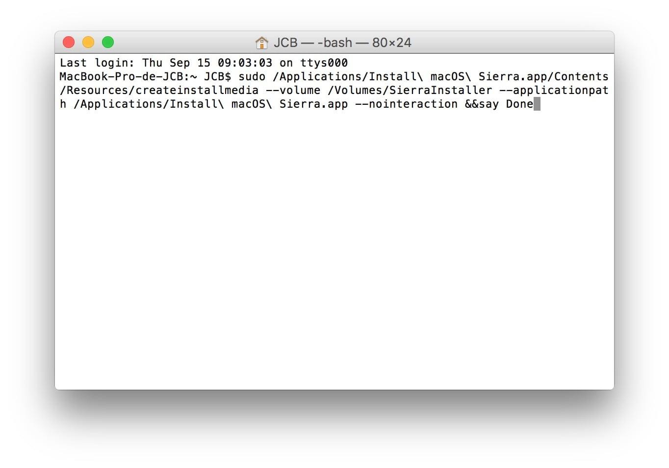 Instalar macOS Sierra (10.12) en el MacBook