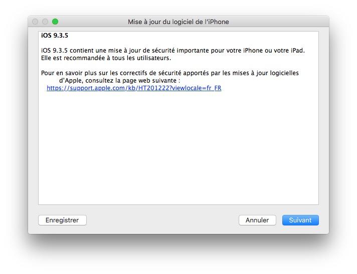 iOS 9.3.5 : actualización para iPhone, iPad, iPod touch 5