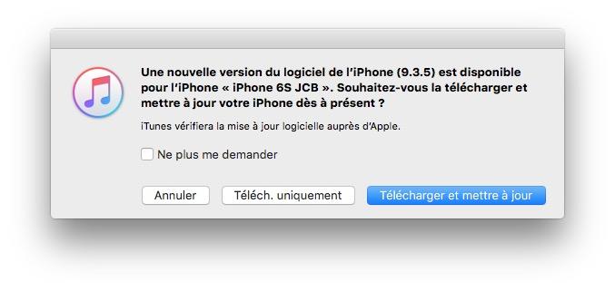 iOS 9.3.5 : actualización para iPhone, iPad, iPod touch 4
