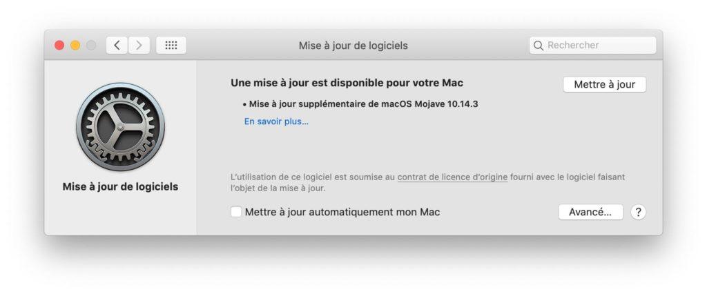 Actualización adicional de macOS 10.14.3 2