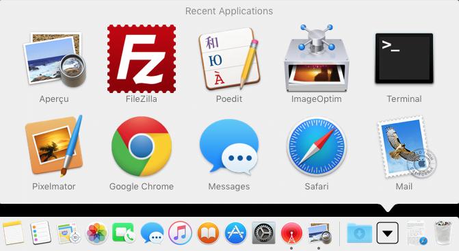 Ver artículos recientes en el Mac OS X El Capitan Dock (10.11) 3