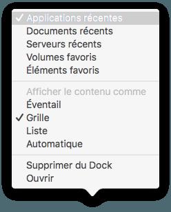 Ver artículos recientes en el Mac OS X El Capitan Dock (10.11) 2