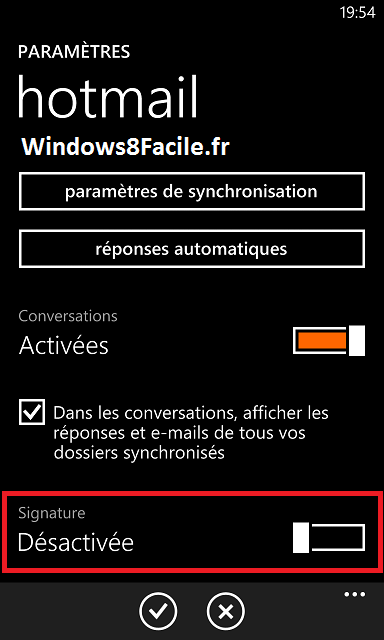 Windows Phone: desactivar la firma automática en los correos electrónicos 6