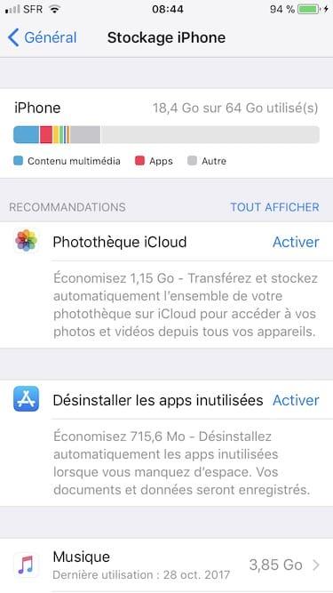 Gestiona el espacio de almacenamiento del iPhone / iPad / iPod (iOS 11) 2