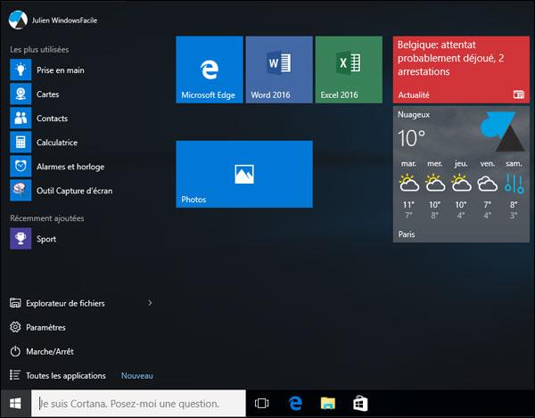 Windows 10: añadir accesos directos en el menú Inicio 3