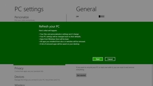 Windows 8 tendrá la opción de reinicio que borra todo 2