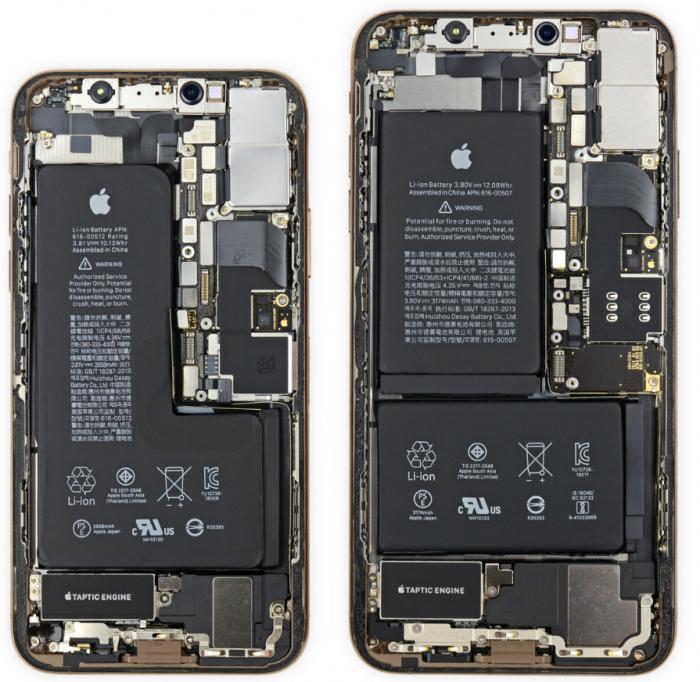 Las partes internas de los iPhones XS y XS Max son similares a iPhone X