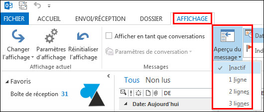 Outlook 2013: Disable email list preview 4