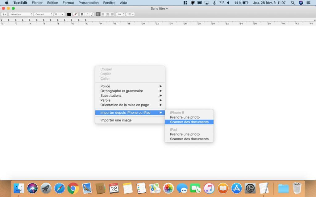 Uso de la cámara de continuidad iPhone en Mac (Páginas