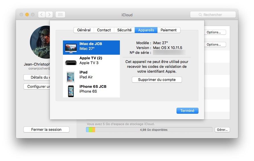 Eliminar un dispositivo de la cuenta de iCloud (iPhone, iPad, Mac, Apple TV, Apple Watch) 2