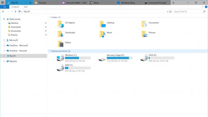 Las pestañas de Windows 10 están mejorando