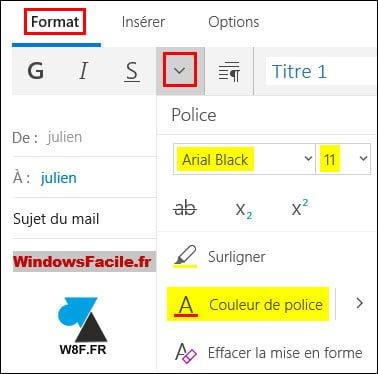 Mail: cambia la fuente, el tamaño y el color de escritura de un correo electrónico.