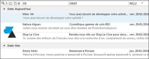 Outlook 2013: Disable email list preview 3