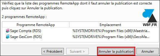 Microsoft RDS: eliminar una aplicación publicada 5